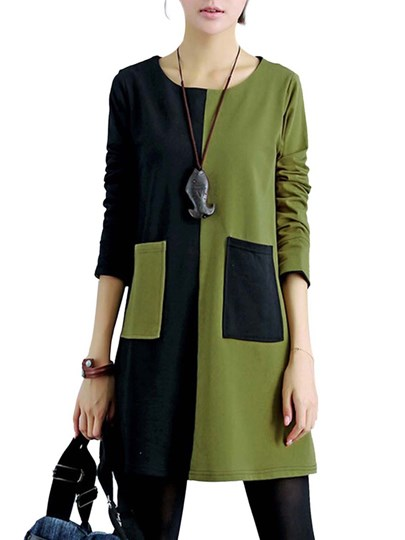 Color Block Loose Long Sleeve Top Quality Women's Day Dress