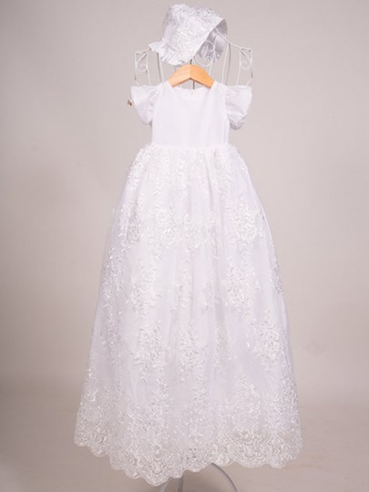 Sleeves Lace Christening Gown matching Bonnet