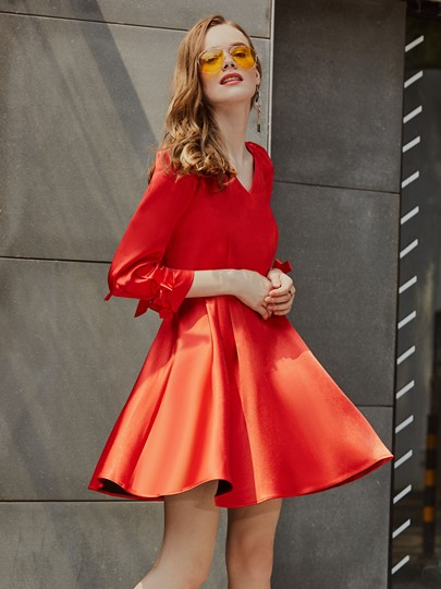 Red 3/4 Sleeve Backless Women's Skater Dress