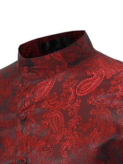 Irregular Stand Collar Ethnic Floral Print Slim Men's Luxury Shirt