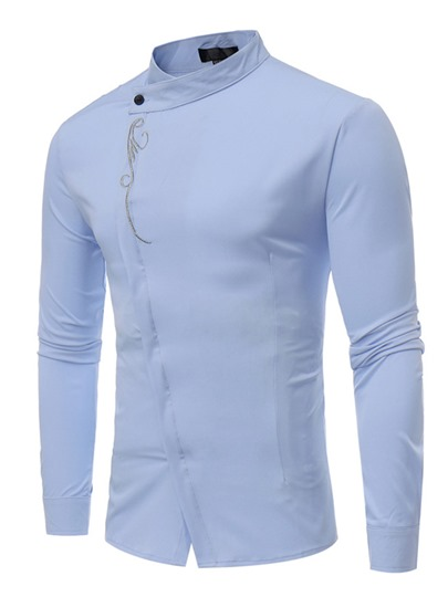 Stand Collar Embroidery Inclined Closure Solid Color Slim Men's Shirt