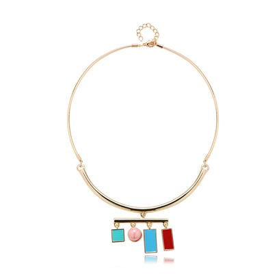 Simple Pearl Alloy Torques Choker Necklace