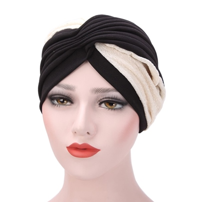 Two Color Color Block Moslem Pleated Hats