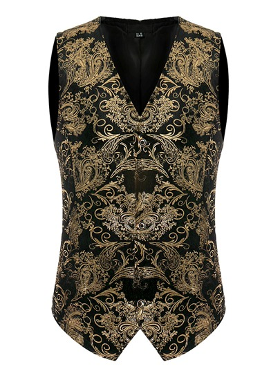 Ethnic Golden Floral Printed Single-Breasted Slim Men's Vest