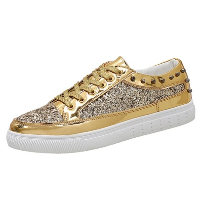 Lace-Up Rivet Sequins Fashion Sneakers For Men