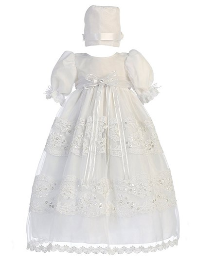 Short Sleeves Lace Sequins Christening Gown with Bonnet
