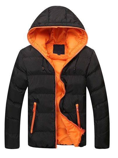 Hooded Color Block Casual Men's Winter Jacket