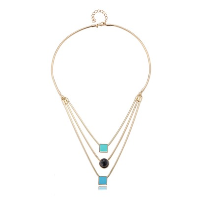 European Style Multilayer Alloy Pearl Pendant Necklace