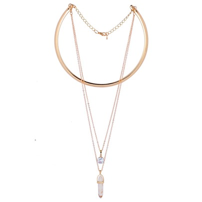 Diamante Natural Stone Pendant Torques Necklace