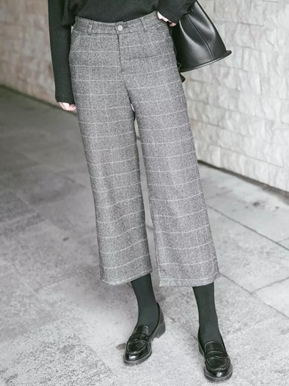 Woolen Plaid Wide Leg Ankle-Length Women's Pants