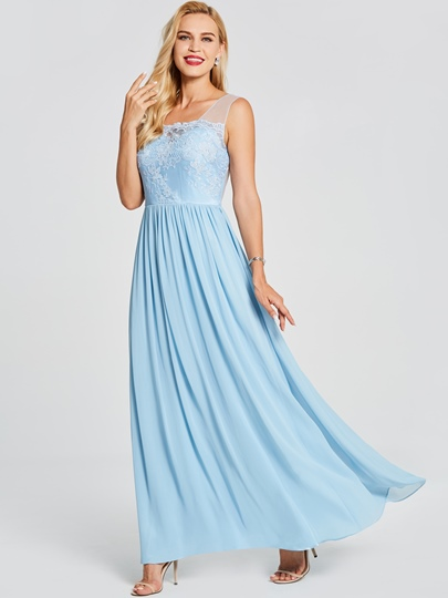 V Neck Backless Lace A Line Prom Dress