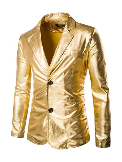 Notched Collar Two Button Golden Solid Color Slim Fit Men's Blazer