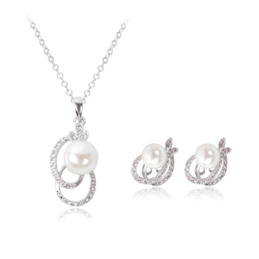 Alloy Pearl Diamante Two Piece Jewelry Sets