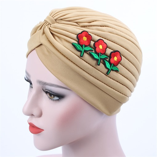 Fold Applique Plain Flower Moslem Skullies & Beanies Hats