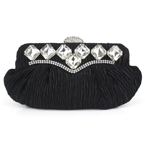 Trendy Pleated Rhinestone Adornment Evening Clutch