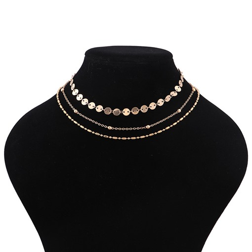 Sequins Alloy Bamboo Chain Multilayer Necklace