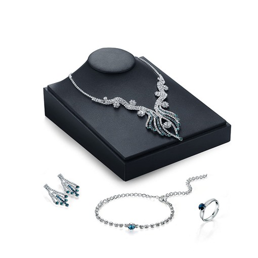 Shiny Rhinestone Alloy Diamante Silver Plated Jewelry Sets