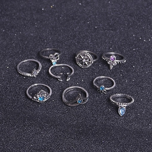 Leaf Claw Alloy Acrylic European Silver Plated Knuckle Ring