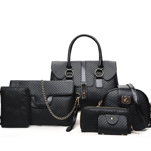 Trendy Solid Color Litchi Stria Six Bag Set