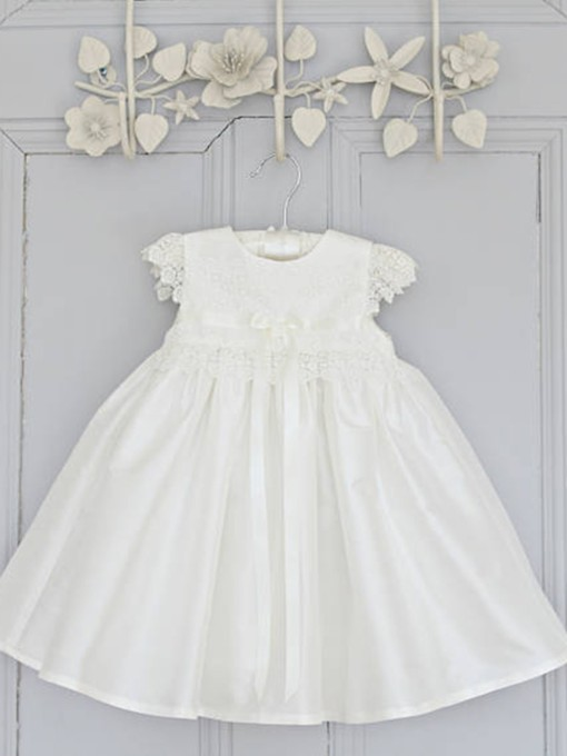 Lace Cap Sleeves Sashes Christening Gown