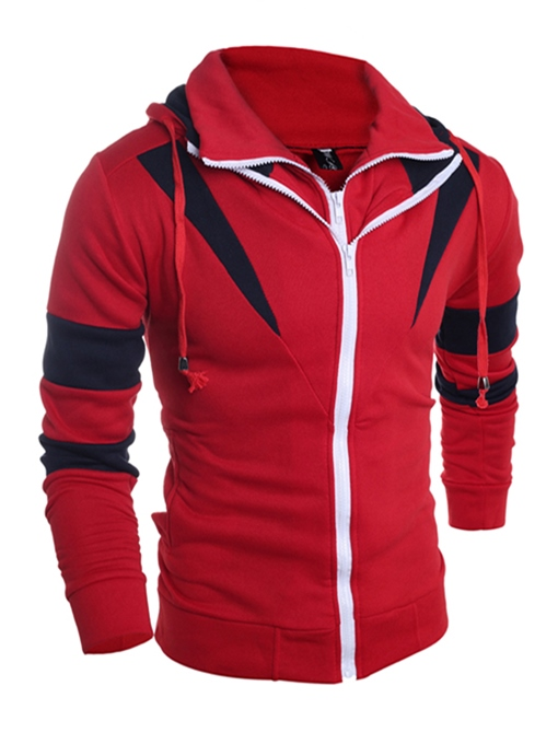 Korean Style Patchwork Color Block Zipper Slim Fit Men's Hoodie