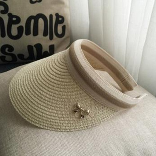 Concise Sunscreen Visor Crown Design Straw Hat