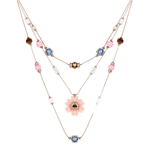 Floral Colorful Beads Multilayer Necklace
