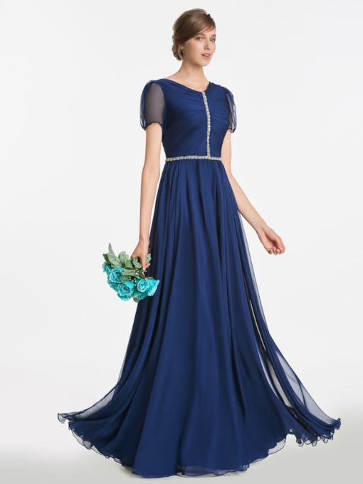 Short Sleeves Beading Pleats Bridesmaid Dress