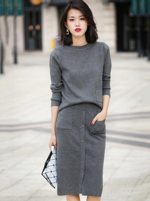 Fall Sweater Pure Color Pocket Women's Two Piece Dress