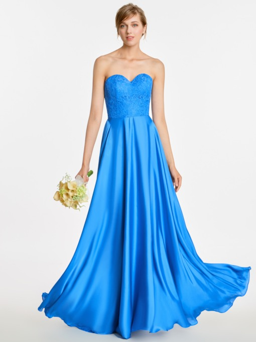 Sweetheart Neck Lace Top A-Line Long Bridesmaid Dress