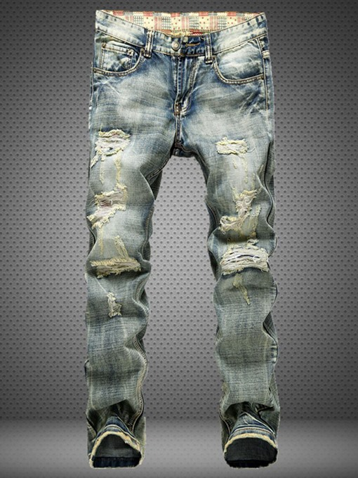 Mid Waist Worn Hole Vintage Slim Fit Men's Fashion Jeans