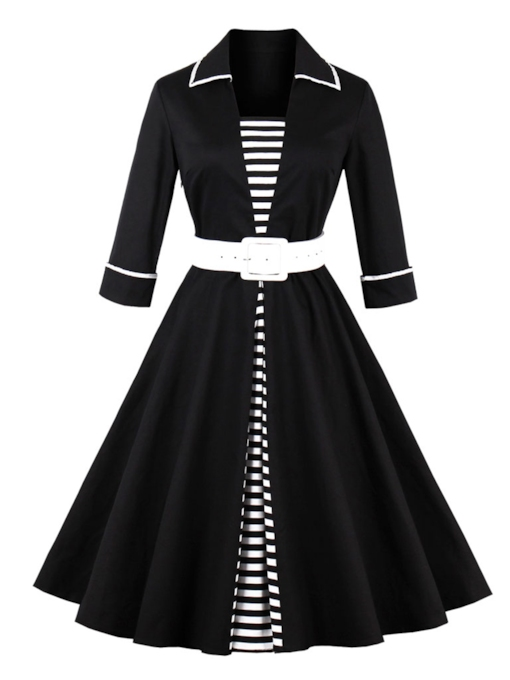 Black Striped Double-Layered Women's Day Dress