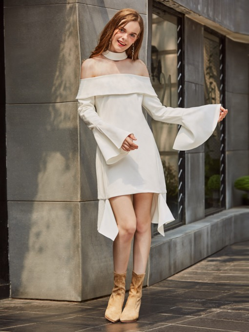 White Slash Neck Bell Sleeve Women's Day Dress