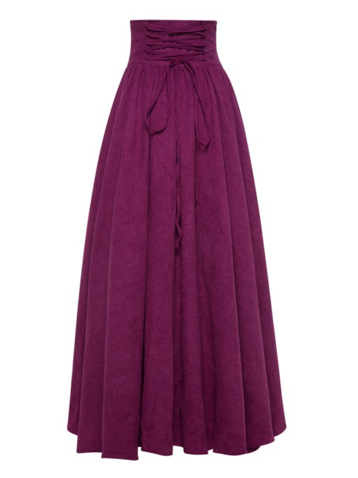 Vintage High Waist Pleated Bowknot Maxi Skirt