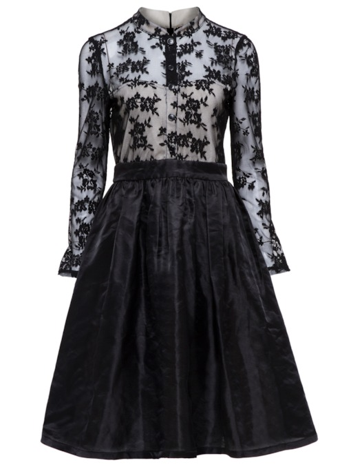 Black Lace Patchwork Women's Day Dress