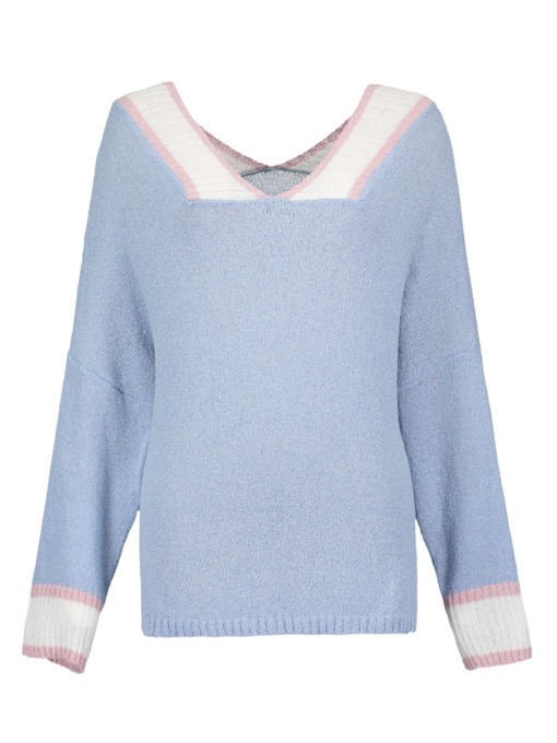 Slim V-Neck Color Block Women's Sweater