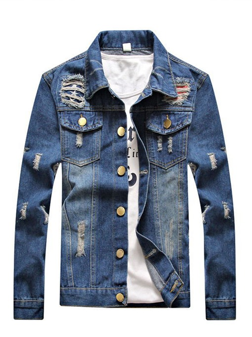 Lapel Single-Breasted Hole Worn Thin Slim Fit Men's Denim Jacket