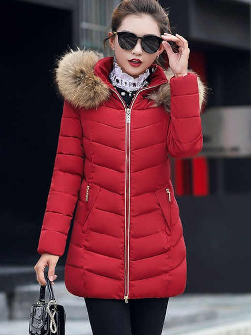 Slim Faux Fur Hooded Women's Cotton Padded Jacket