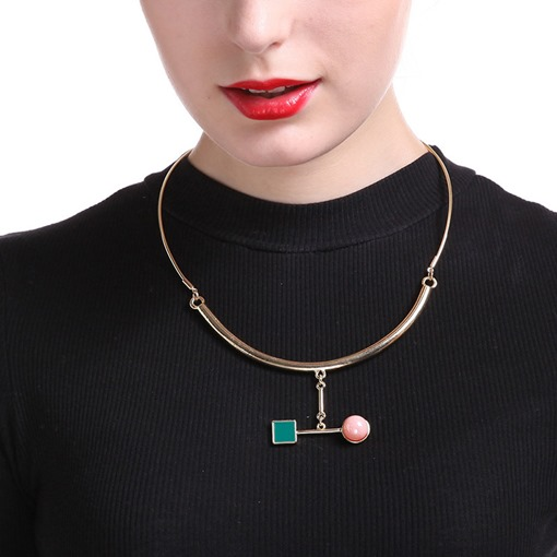 Pearl Square Shaped Pendant Alloy Choker Necklace