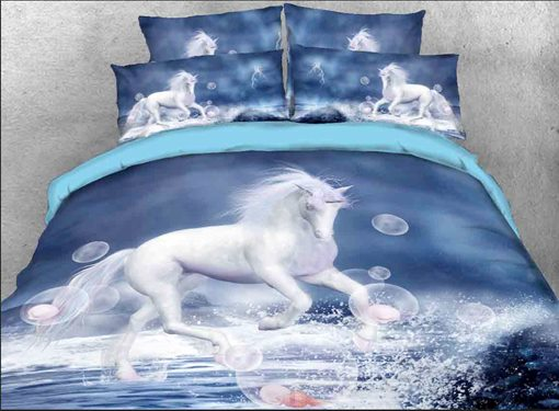 White Unicorn and Bubbles Printed Cotton 4-Piece 3D Bedding Sets/Duvet Covers