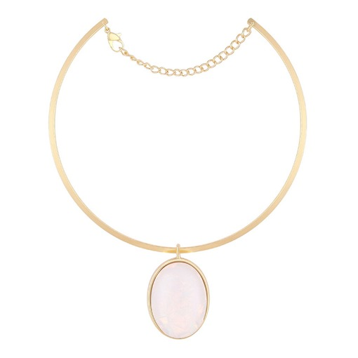 Oval Natural Stone Simple Torques Choker Necklace