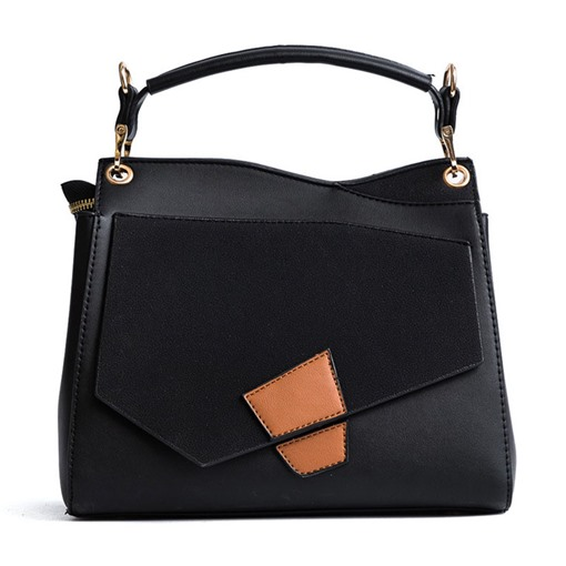 Korean Style Color Block Zipper Tote