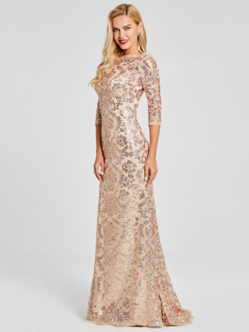 Sequins Trumpet Scoop 3/4 Length Sleeves Floor-Length Evening Dress