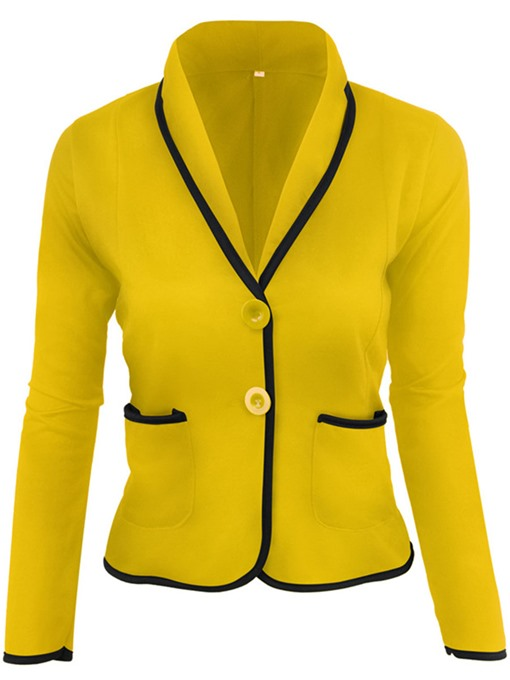 Color Block Button Pocket Women's Blazer