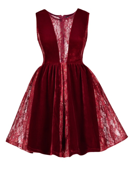 Fuchsia Velvet Patchwork Women's Day Dress