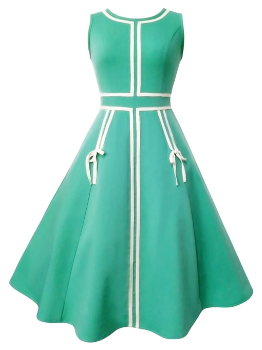 Back Zipper Green Women's Day Dress