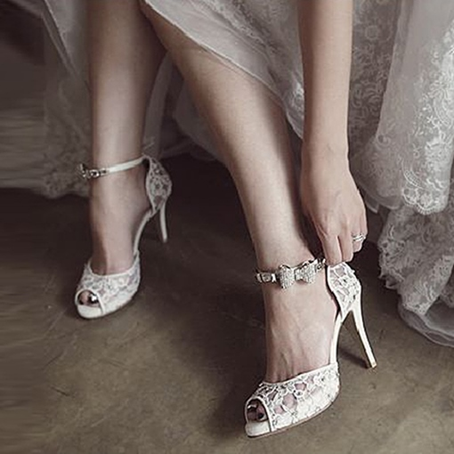 Lace Rhinestone Bow Stiletto Heel Women's White Wedding Shoes