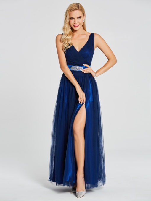 V Neck Split-Front A-Line Evening Dress