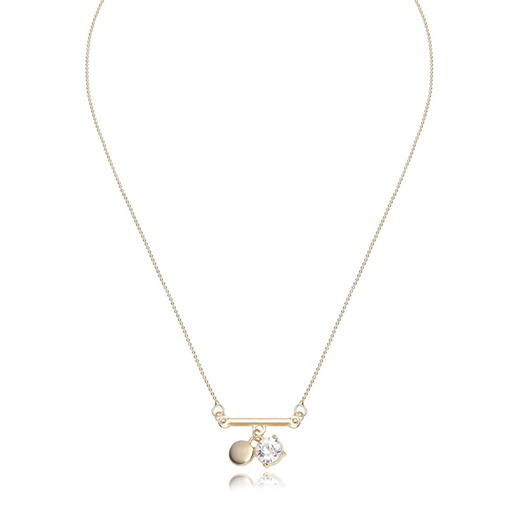 Diamante Round Alloy Pendant Chain Necklace