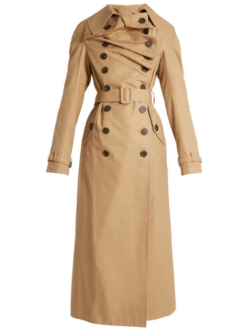 Long Double-Breasted Self-Belt Women's Trench Coat